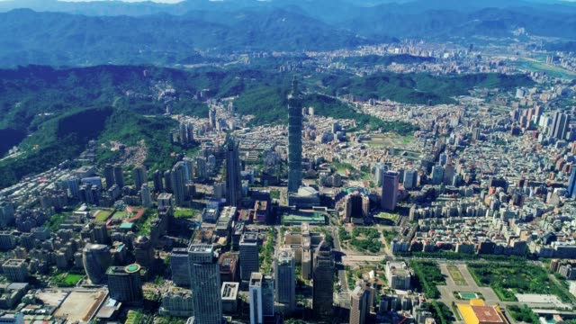 Aerial view of cityscape at Taipei center district, Taiwan video