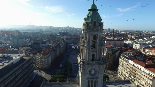 Aerial View of Clerigos Tower, Porto, Portugal video