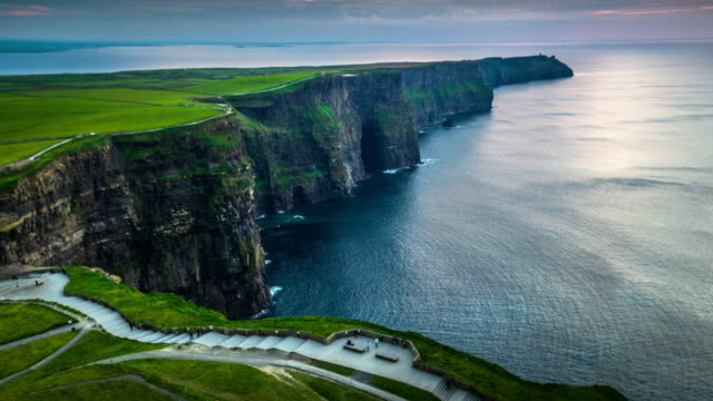 Aerial view of Cliffs of Moher in Ireland video