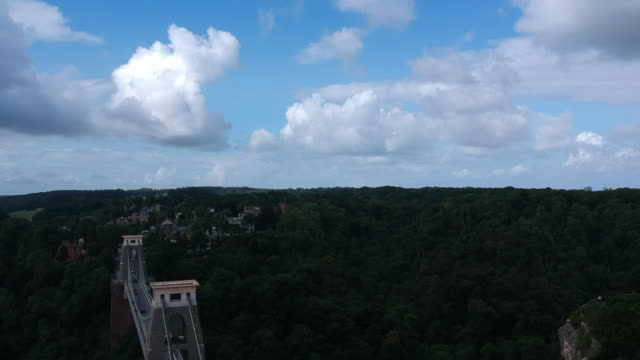 Aerial view of Clifton Suspension bridge and Observatory Tower video