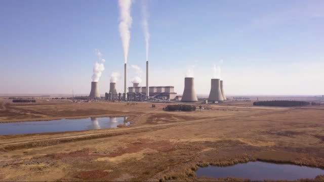 Aerial view of coal fired power plant
