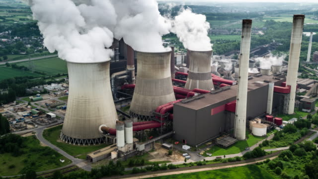 Aerial view of coal fired power station video