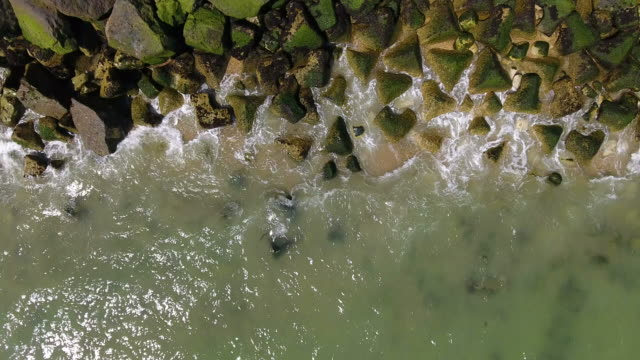 Aerial view of coast erosion video