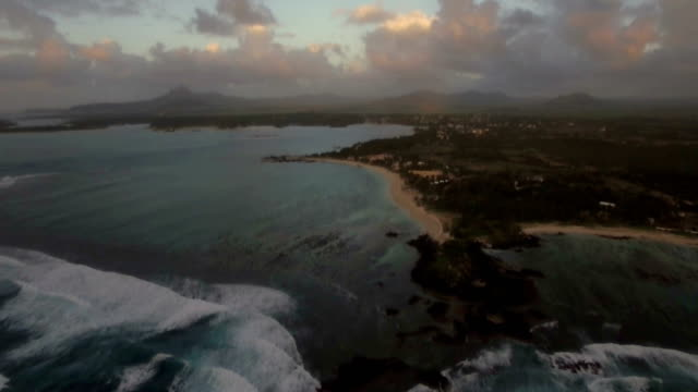 Aerial view of coast line of Mauritius Island video