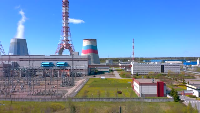 aerial view of cogeneration plant. thermal power plant. - centrale termoelettrica video stock e b–roll