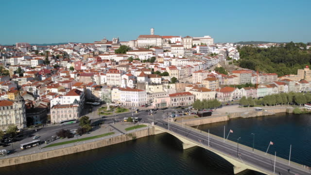 Aerial View Of Coimbra In Portugal and Mondego River