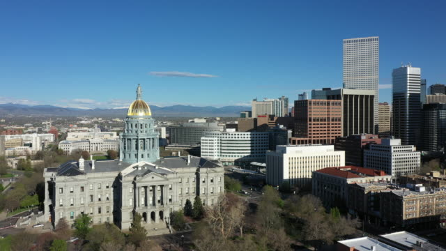 Aerial view of Colorado state capitol building in Denver Downtown