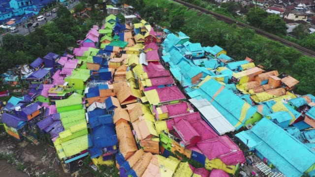 Aerial view of colorful rainbow village in  Java