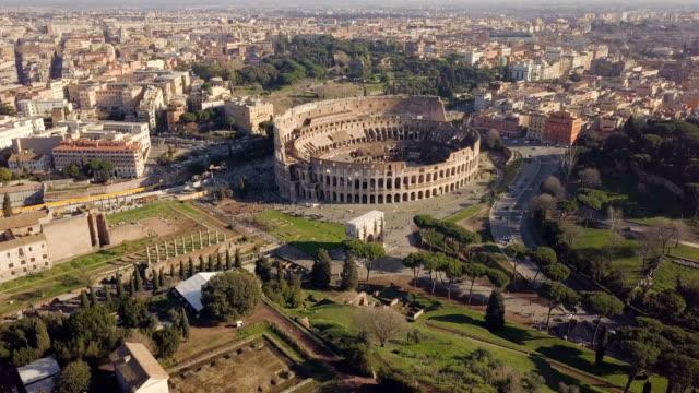 aerial view of colosseum - stile classico romano video stock e b–roll