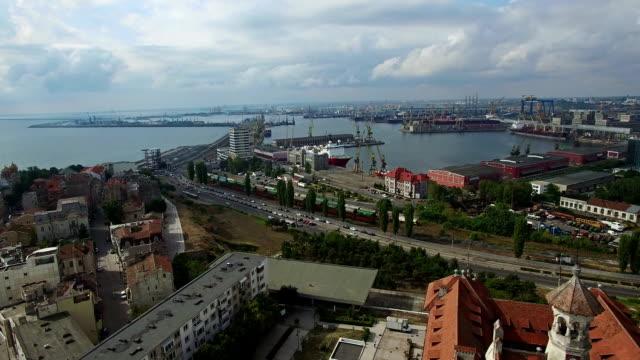 Aerial view of Constanta industrial port, Romania video
