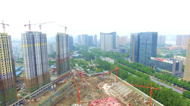 aerial view of construction,shoot by drone video