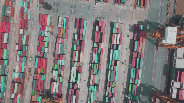 Aerial view of container operation in port video
