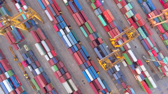 Aerial View of Container Ship in Industrial Port aerial,transportaion commercial dock stock videos & royalty-free footage
