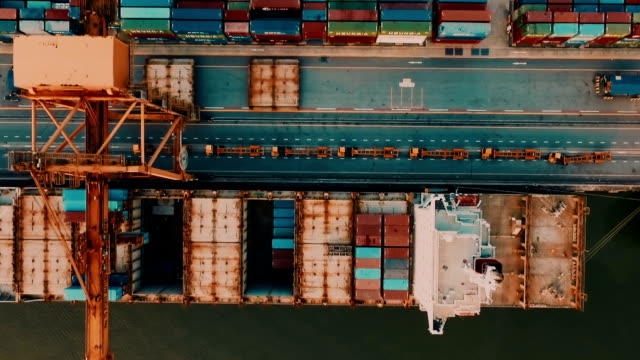 Aerial view of Container Ship in Port video