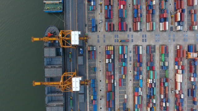 Aerial view of container ships and lifting cranes in the Port of Bangkok. video