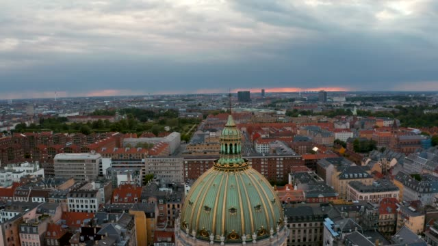 aerial view of copenhagen cathedral near the old town. - vintage architecture stock videos & royalty-free footage
