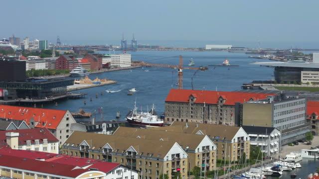 Aerial View of Copenhagen Harbour video