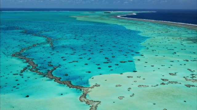 Aerial view of coral reef lagoon in South Pacific video