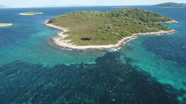 Aerial view of Crotian island, 4k video
