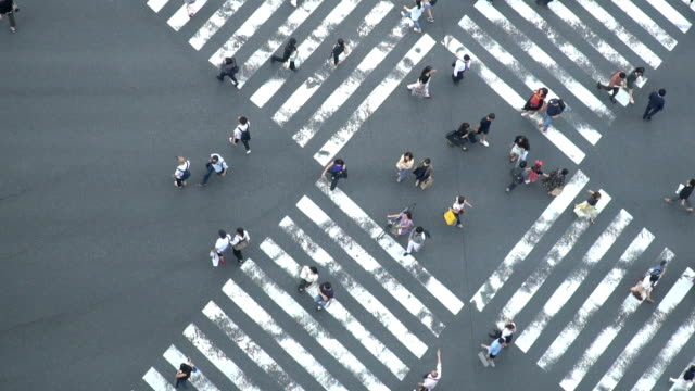 vídeos de stock e filmes b-roll de slomo - aerial view of crowd people pedestrians and cars crossing intersection road in ginza, tokyo, japan - encruzilhada