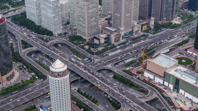 T/L WS HA TD Aerial View of Crowded Traffic / Beijing, China video