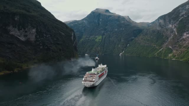 Aerial  view of cruise liners on  Geirangerfjord in Norway