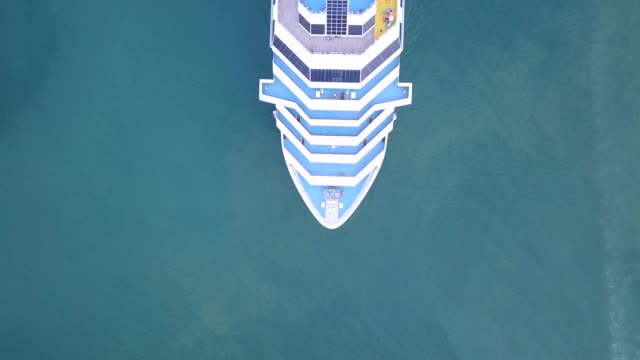 aerial view of cruise ship at the sea - cruise video stock e b–roll