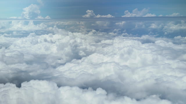 Aerial view of cumulus clouds over Moscow Region stock footage video video