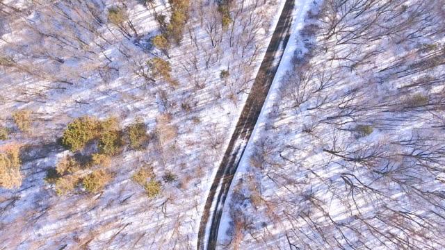 vídeos y material grabado en eventos de stock de vista aérea del camino curvo sobre una nieve cubierta lado montaña - nieve amontonada