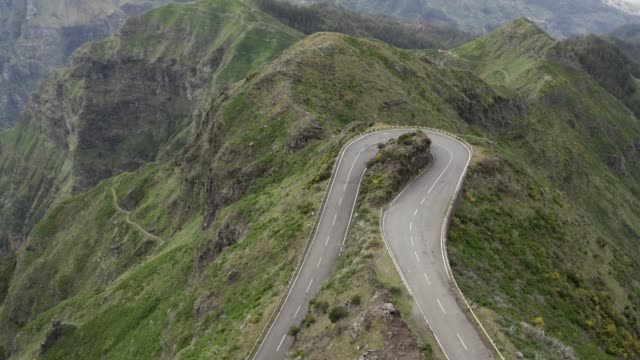 Aerial view of curvy road in Encumeada, Madeira island
