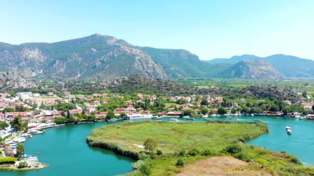 Aerial view of Dalyan in Turkey video