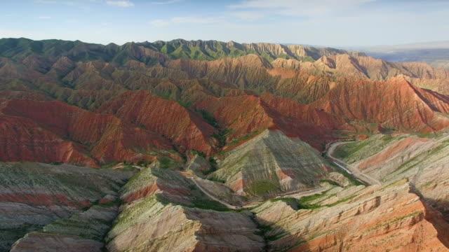 Aerial view of Danxia Landform in Tianshan mountain,Xinjiang,China.