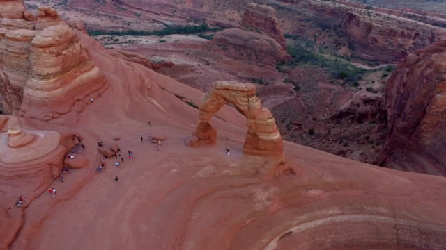 aerial view of delicate arch at arches national park, utah - utah video stock e b–roll