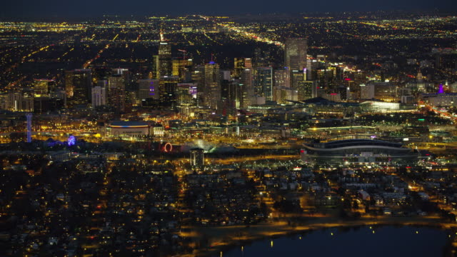 Aerial view of Denver at night