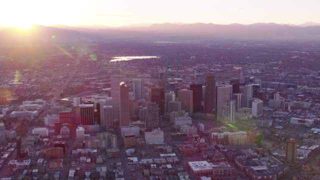 Aerial view of Denver at sunset