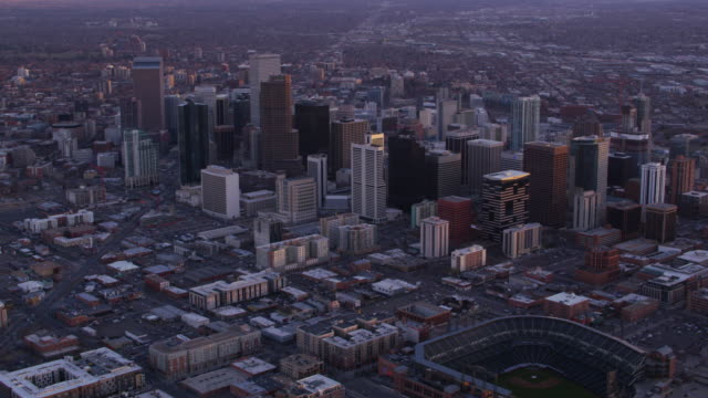 Aerial view of Denver, Colorado and baseball field video