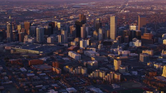 Aerial view of Denver, Colorado at sunset