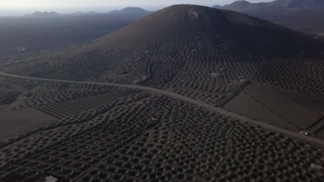 Aerial View of Desertic Vulcanic Landscape in Canary Islands, Lanzarote