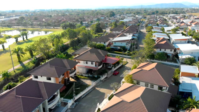 Aerial view of Development housing in Chiang Mai-Thailand.