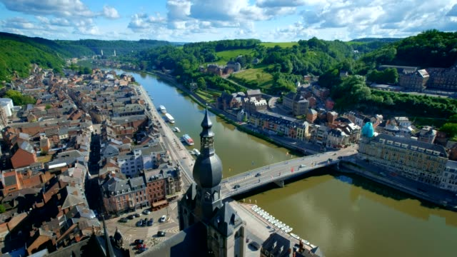 aerial view of dinant town, belgium - belgio video stock e b–roll