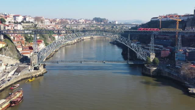 Aerial view of Dom Luis I bridge in Porto