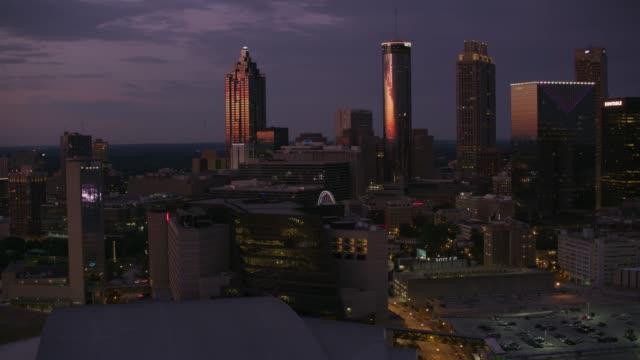 Aerial view of downtown Atlanta at dusk. - video