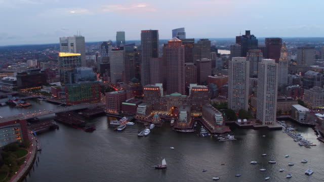 Aerial view of downtown Boston at dusk video
