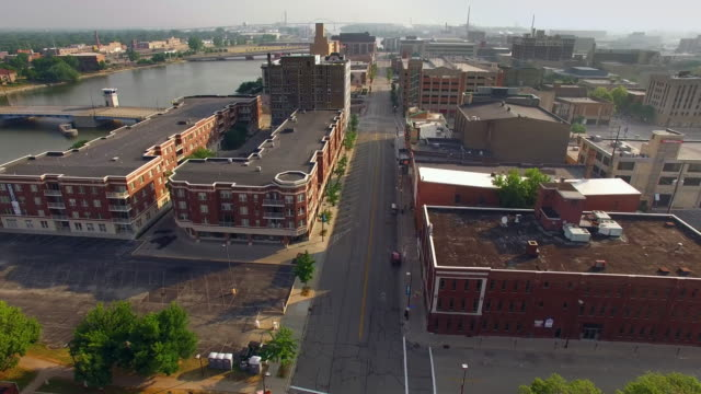 Aerial View of Downtown Green Bay Wisconsin, Calm Summer Morning video