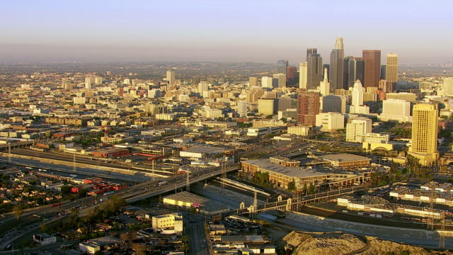 Aerial view of downtown Los Angeles at sunrise video