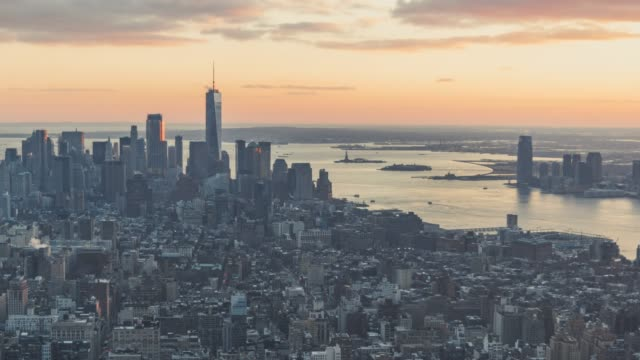 T/L PAN Aerial View of Downtown Manhattan at Sunset/ New York, USA video