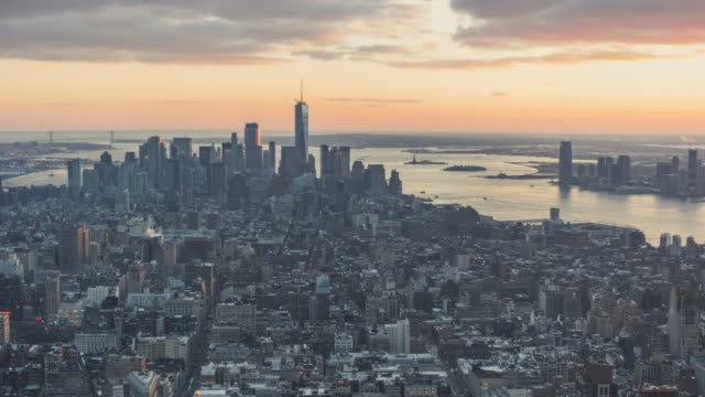 T/L Aerial View of Downtown Manhattan at Sunset/ New York, USA video