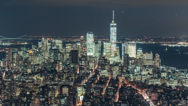 T/L PAN Aerial View of Downtown Manhattan Skyline at Night video