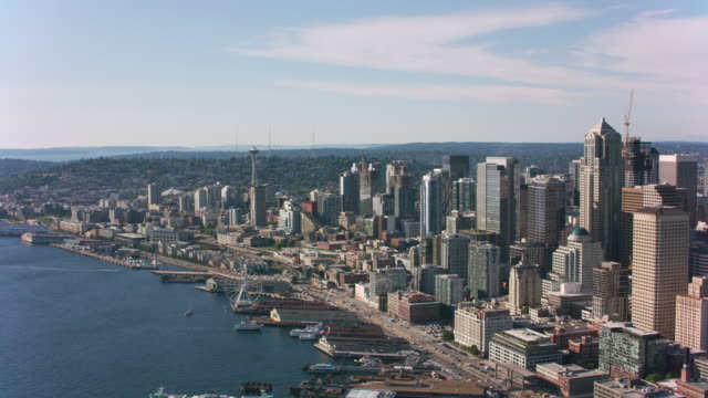 Aerial view of downtown Seattle. Seattle, Washington circa-2019.  Aerial view of downtown Seattle.  Shot from helicopter with Cineflex gimbal and RED 8K camera. seattle stock videos & royalty-free footage