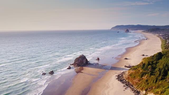 Aerial View of Dramatic Oregon Coastline video